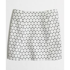 J. Crew White Embroidered Spotted Mini Skirt